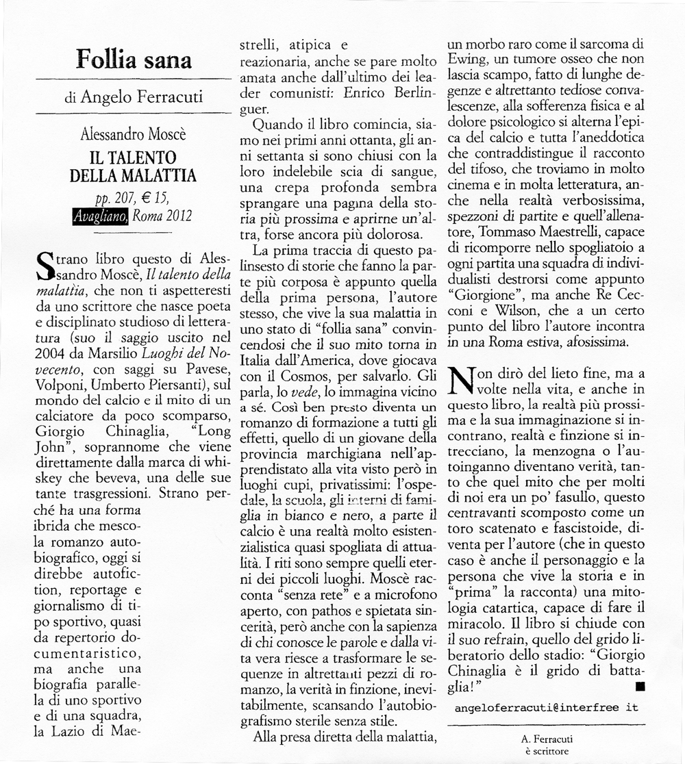 """Follia sana"" di Angelo Ferracuti"