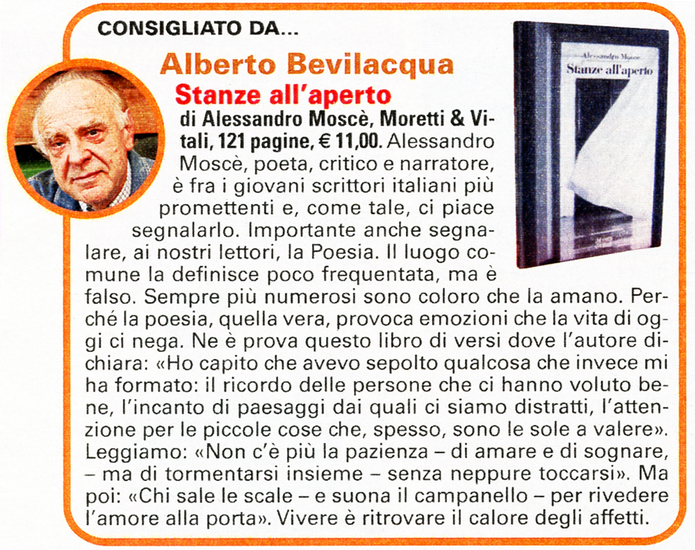 """""""Stanze all'aperto"""" di Alberto Bevilacqua"""