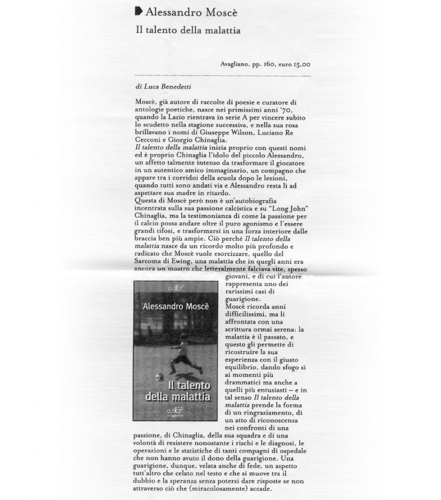 """""""Il talento della malattia"""" di Luca Benedetti"""